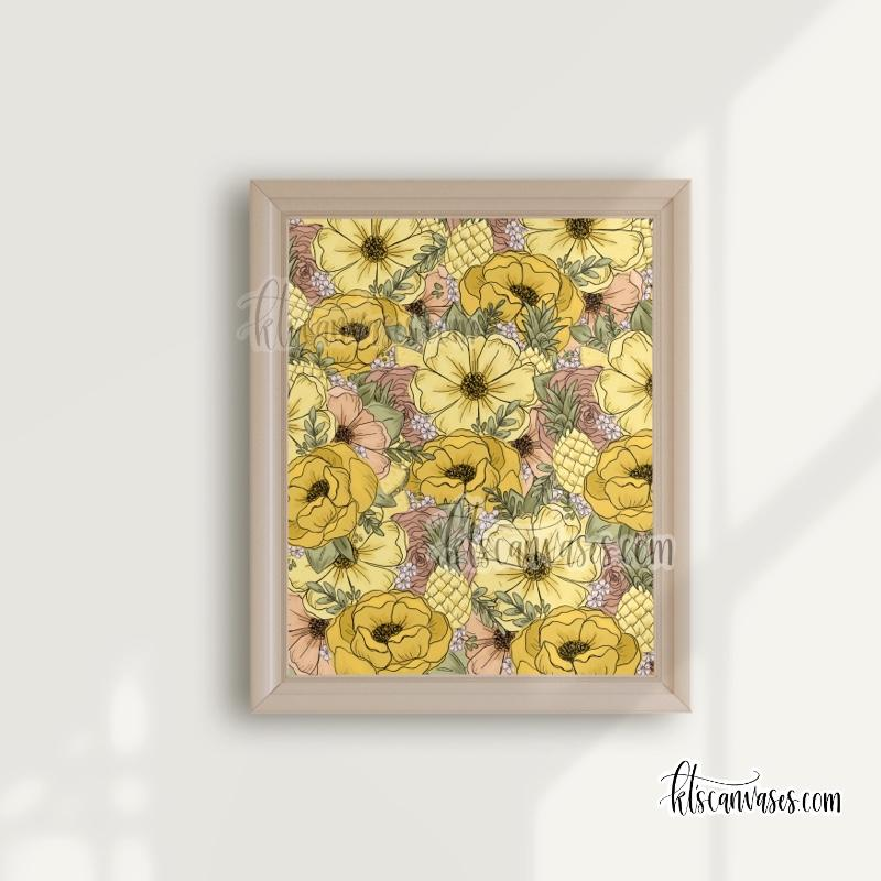 Lots of Pineapple Florals Art Print