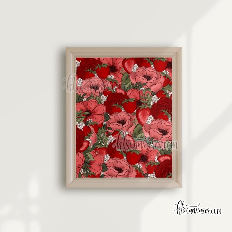 Lots of Strawberry Florals Art Print