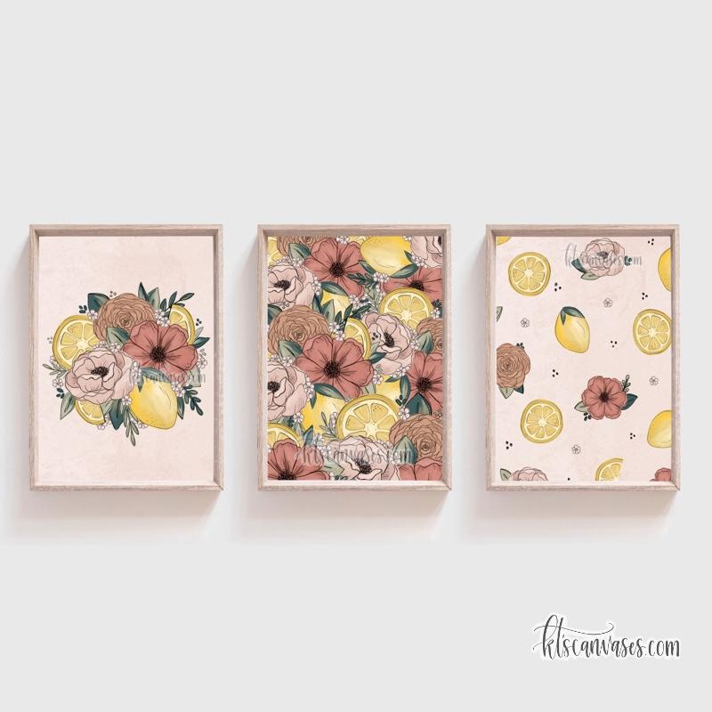 Lemon Floral Art Print Set of 3
