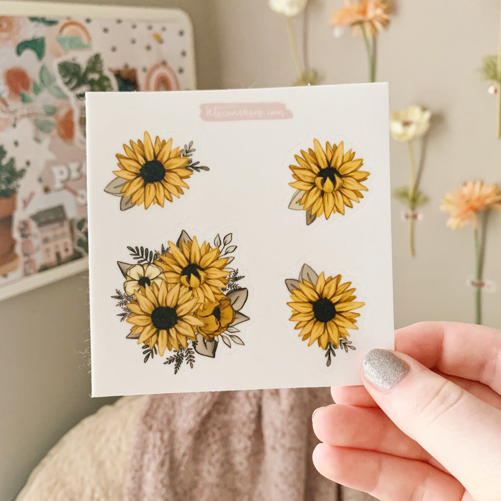 Sunflowers Set of 4 Mini Stickers (1 sheet)