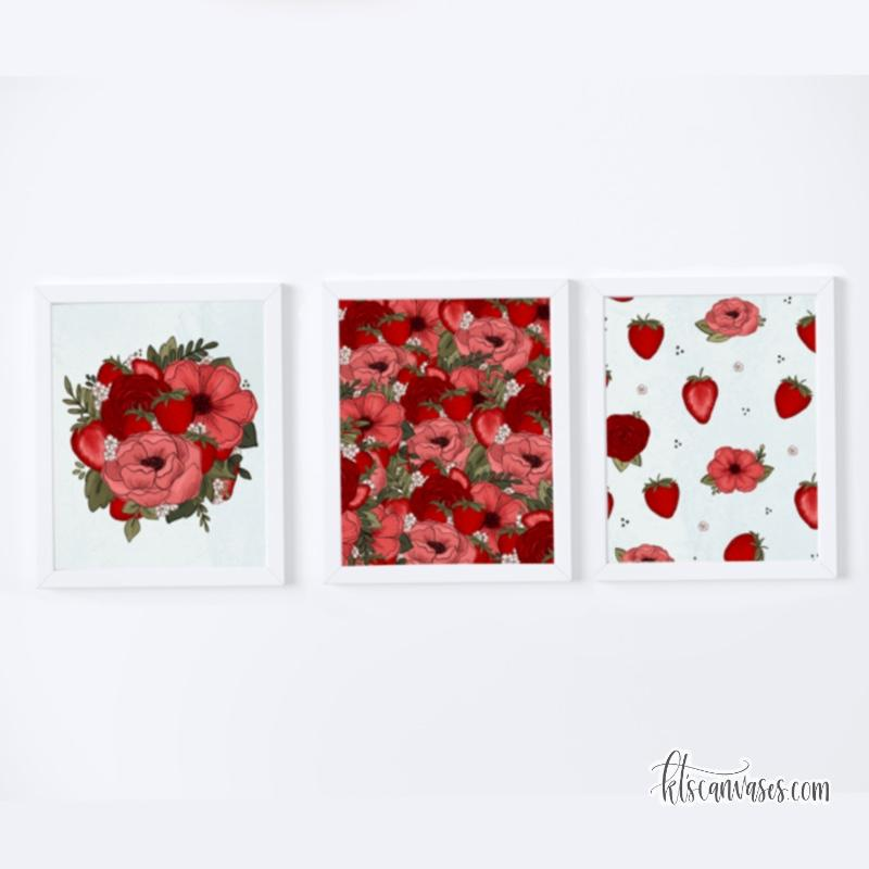 Strawberry Floral Art Print Set of 3