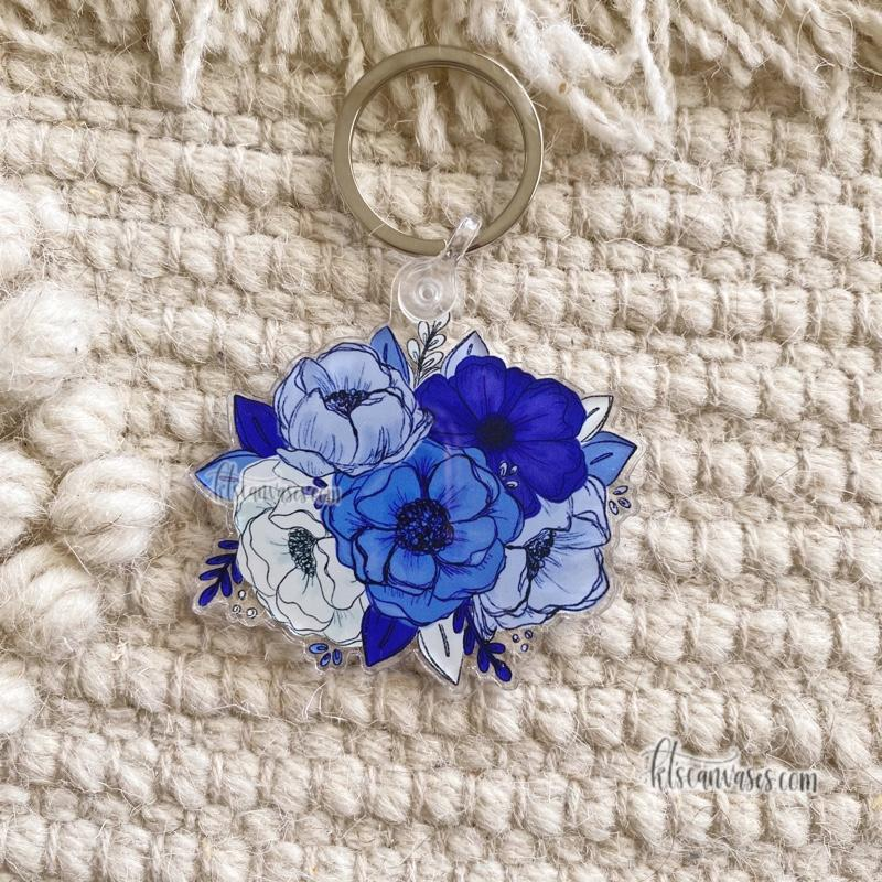 Royal Blue Florals Keychain 2.5 in.