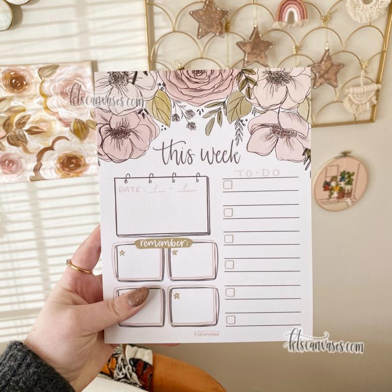 """This Week"" Floral Notepad 100 sheets (7 x 9 in.)"