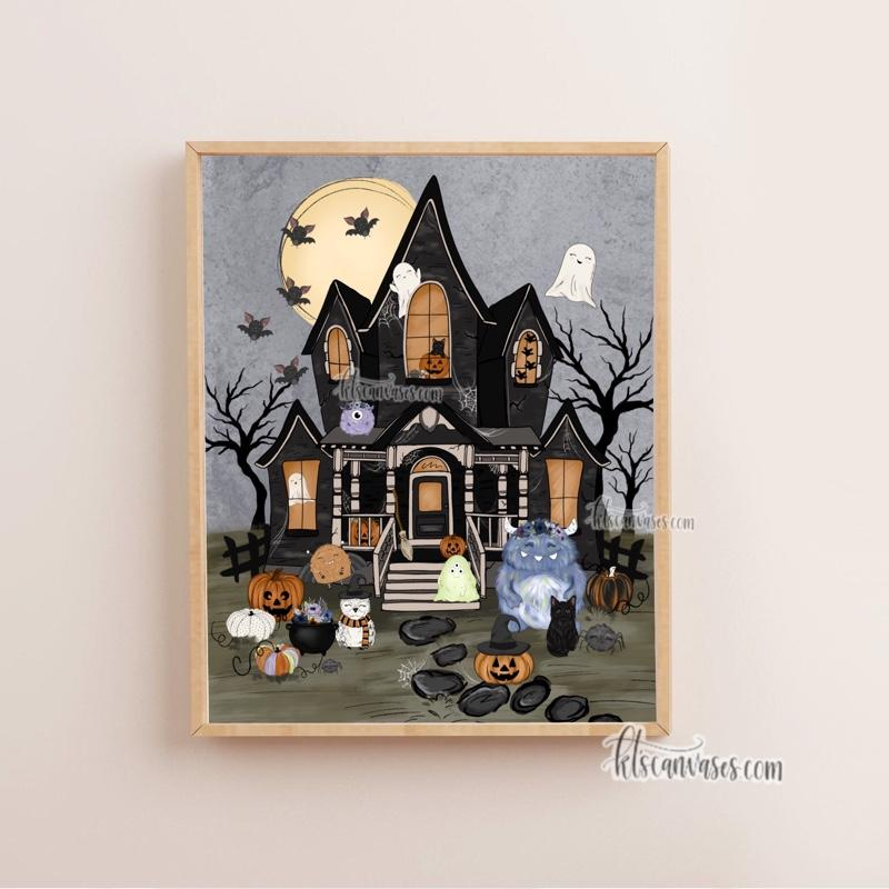 Haunted House of Spooky Friends Art Print