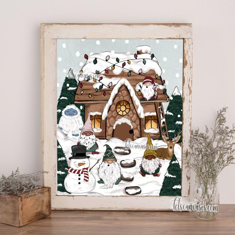 Christmas Cottage Set of 2 Art Prints