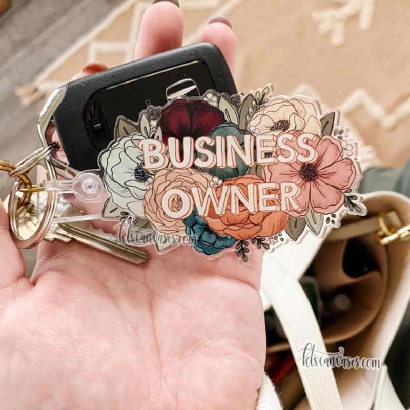 Business Owner Florals Keychain 3.5 in.