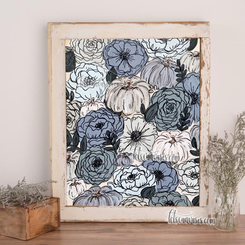 Blue Pumpkin Florals Art Print