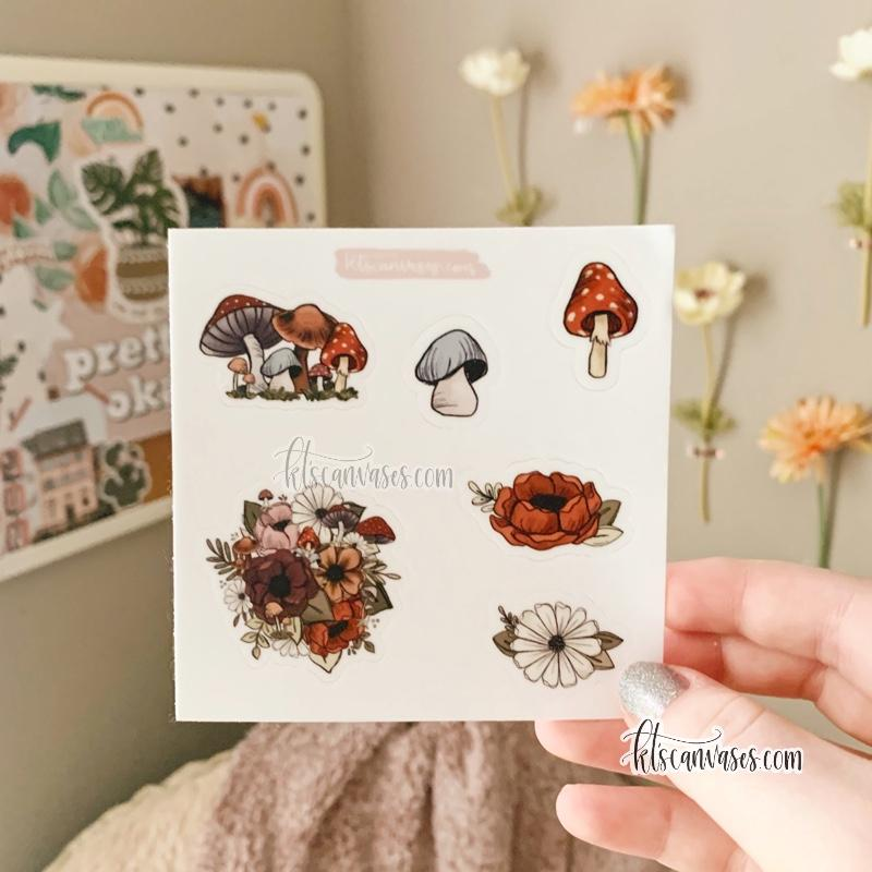 Forest Floral Set of 6 Mini Stickers (1 sheet)