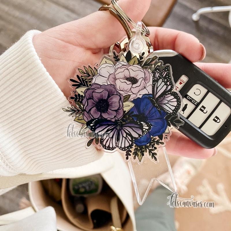 Purple Butterfly Florals Keychain 2.5 in.