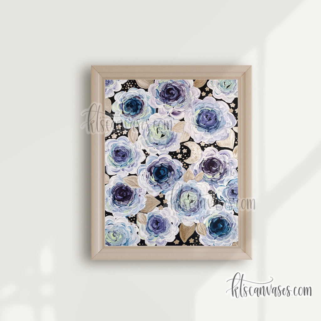 Starry Florals Art Print