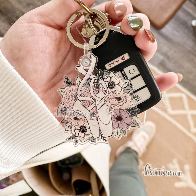 Dancer Inspired Florals Keychain 2.5 in.