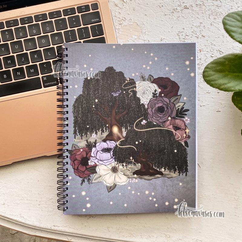 Whimsical Willow Florals 7 x 9 in. Spiral LINED Notebook