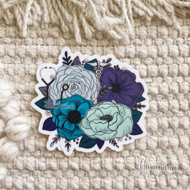 Medical Professional Inspired Florals Sticker