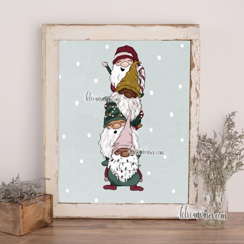 Christmas Gnomes Art Print (Vertical)