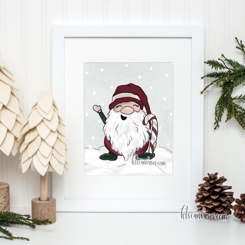Jolly the Christmas Gnome Art Print
