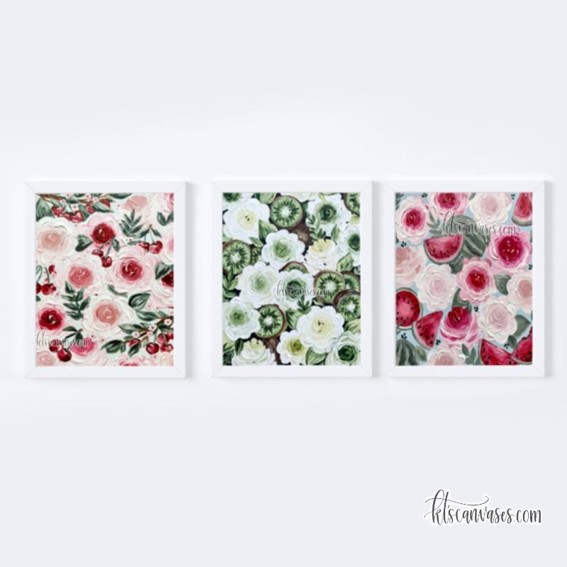 Harry's Fave Fruits Art Print Set of 3 (a tribute to Cherry, Kiwi, and Watermelon Sugar)