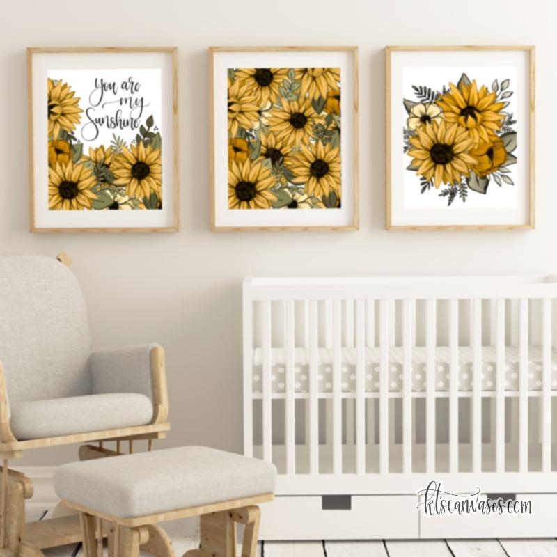 You Are My Sunshine Sunflowers Art Print Set of 3