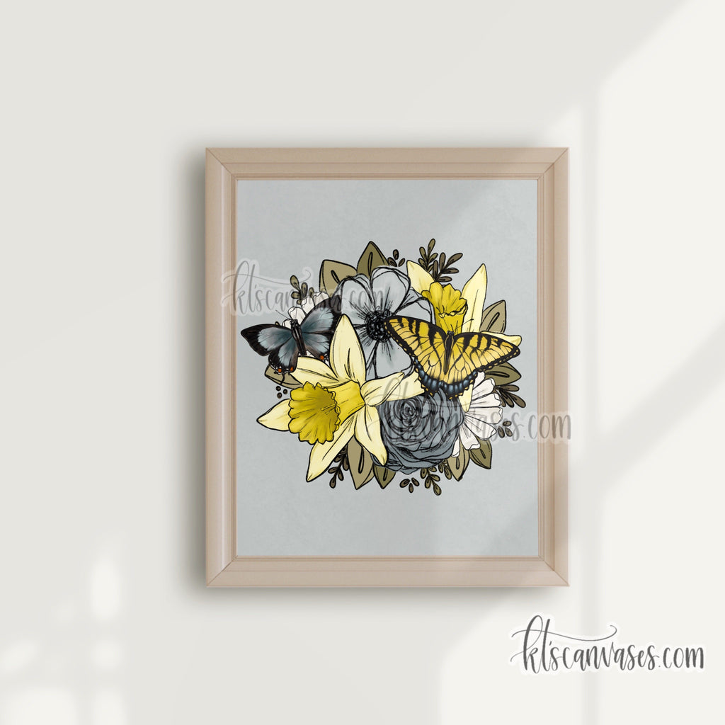 Daffodil Butterfly Florals Art Print