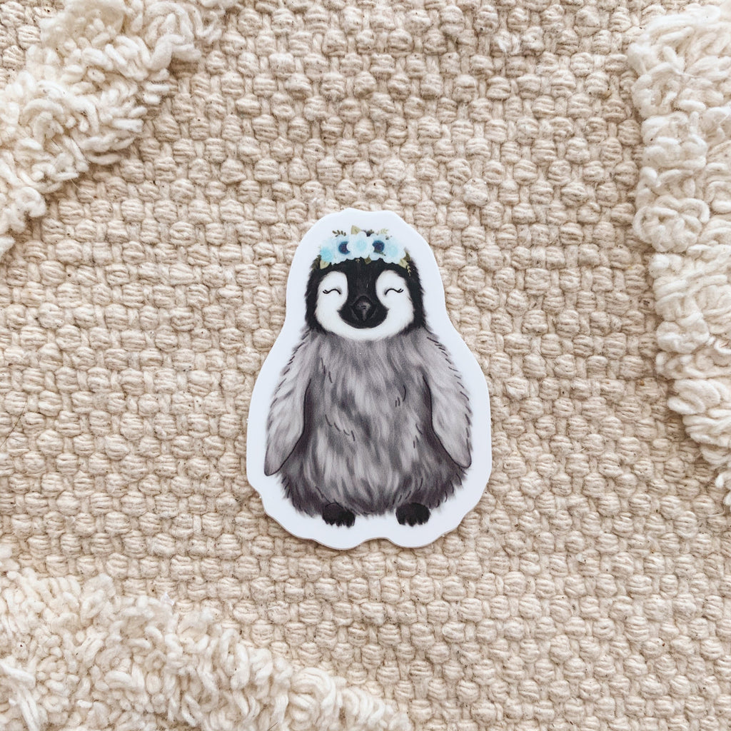Mini Floral Crown Penguin Sticker