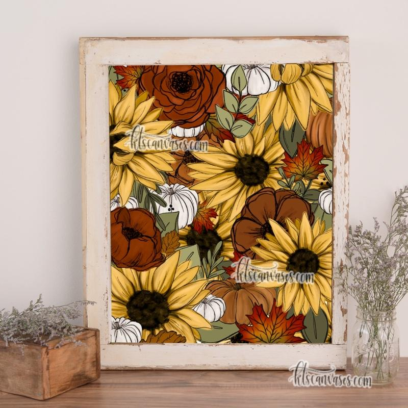 Fall Sunflower Florals Art Print