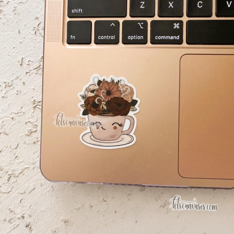 Little Tea/Coffee Cup Floral Sticker