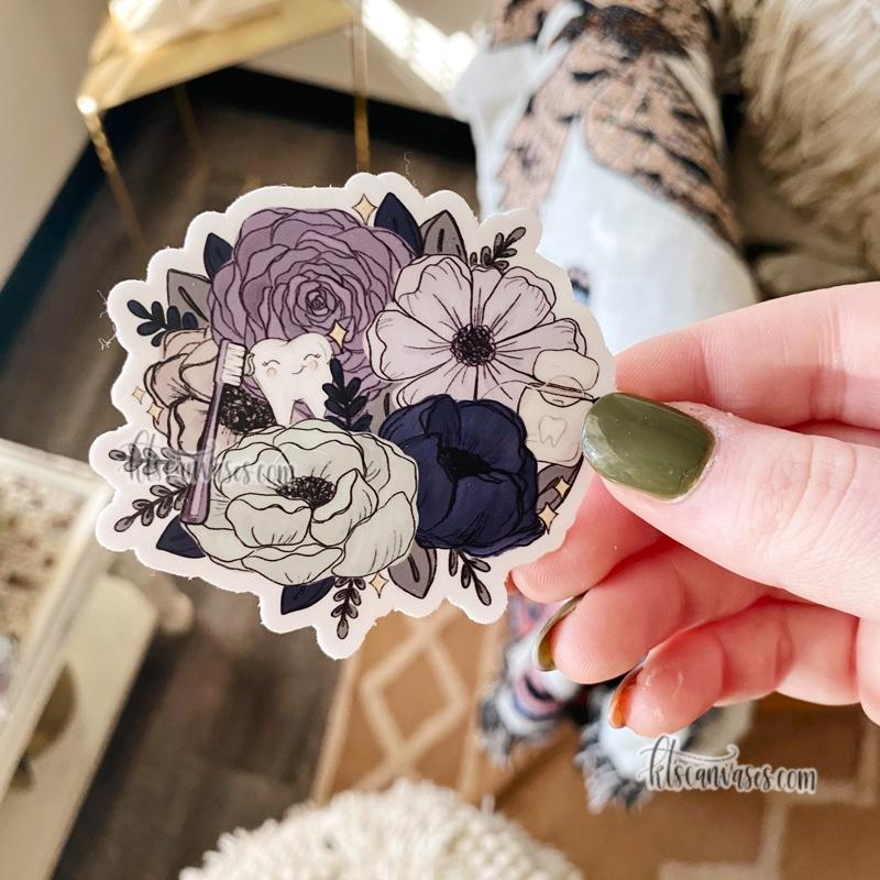 Dental Professional Inspired Florals Sticker