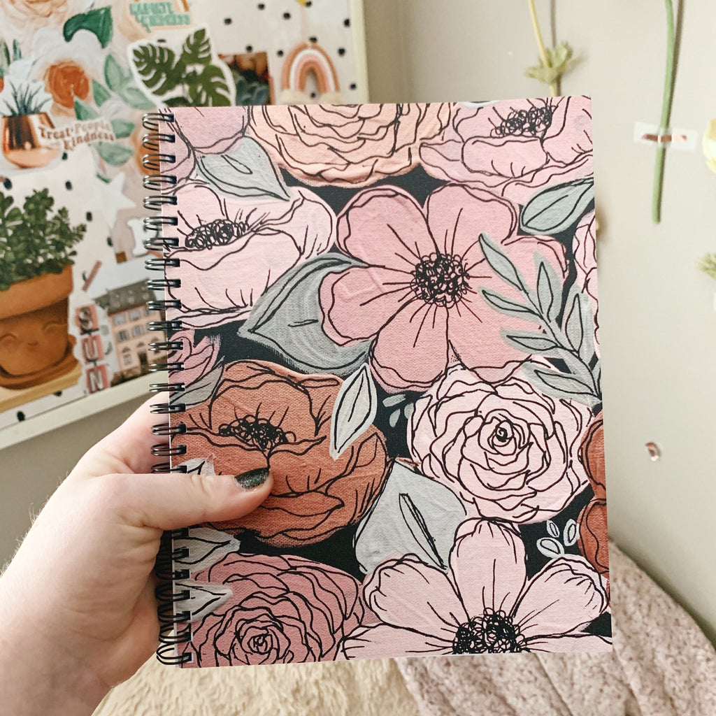 Rose Gold Floral 7 x 9 in. Spiral LINED Notebook