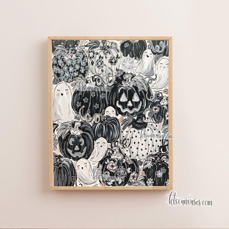 Ghostly Pattern Pumpkins Art Print