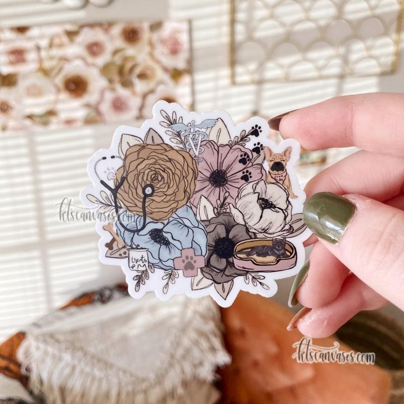 Vet Professional Inspired Florals Sticker