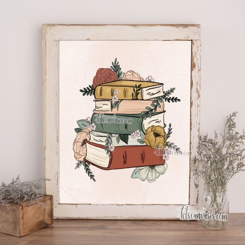 Floral Books Art Print