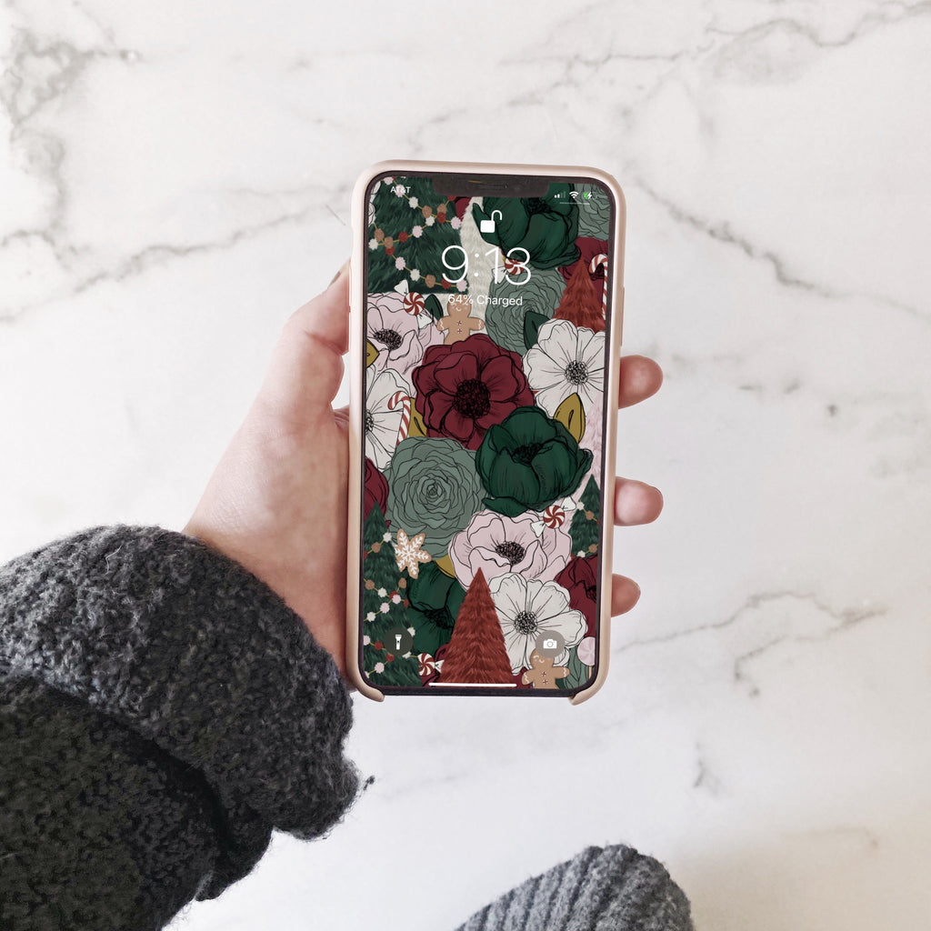 Festive Florals Phone Wallpaper (Digital Download)