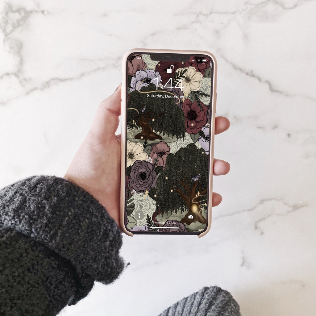 Whimsical Willow Florals Phone Wallpaper (Digital Download)
