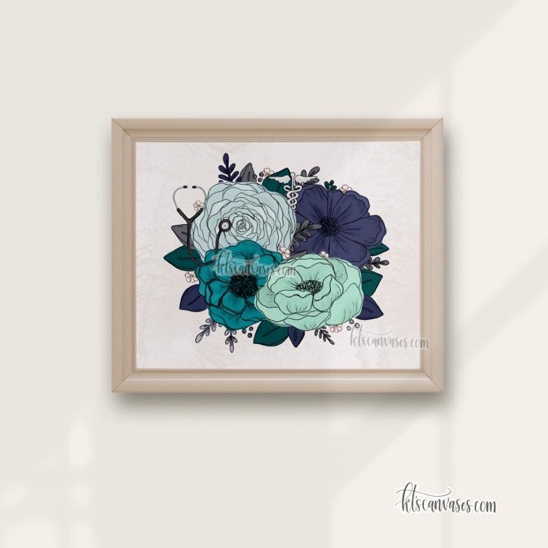 Medical Professional Florals Art Print