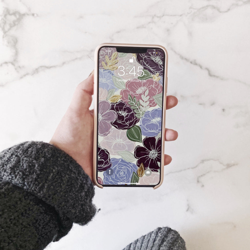 Purple Painted Florals Phone Wallpaper (Digital Download)