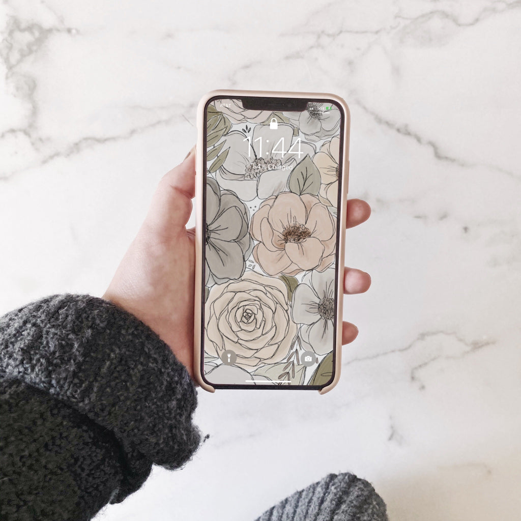 Neutral Florals Phone Wallpaper (Digital Download)