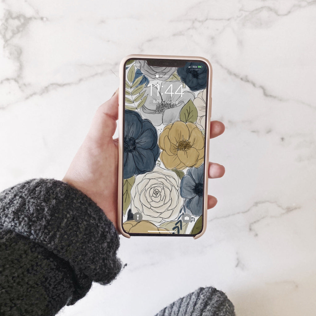 Navy + Gray Florals Phone Wallpaper (Digital Download)