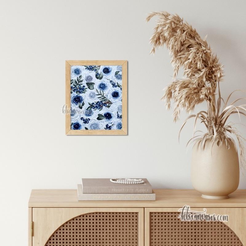 Blueberry Florals Art Print