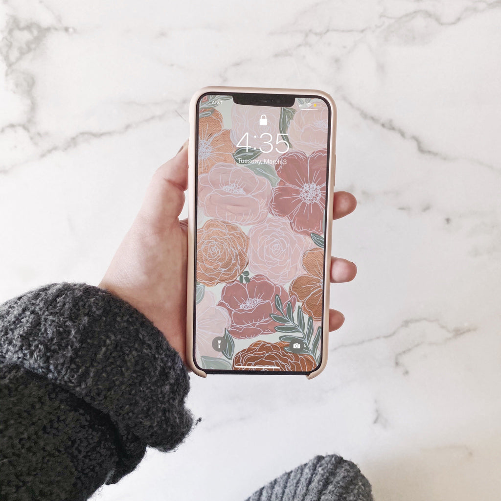 Rose Gold Painted Florals Phone Wallpaper (Digital Download)