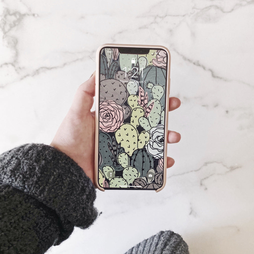 Black Outlined Cactus Florals Phone Wallpaper (Digital Download)