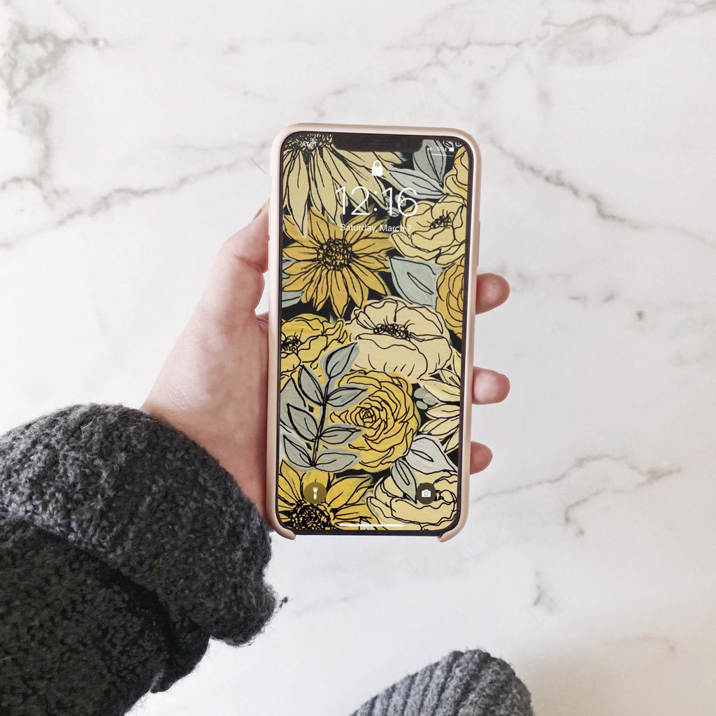 Black Outlined Yellow Painted Florals Phone Wallpaper (Digital Download)