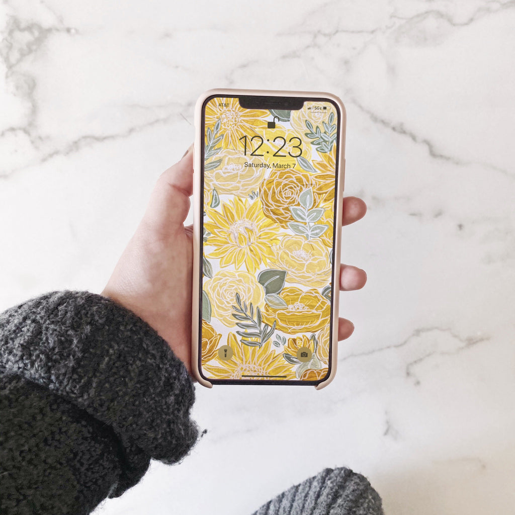 White Outlined Yellow Painted Florals Phone Wallpaper (Digital Download)