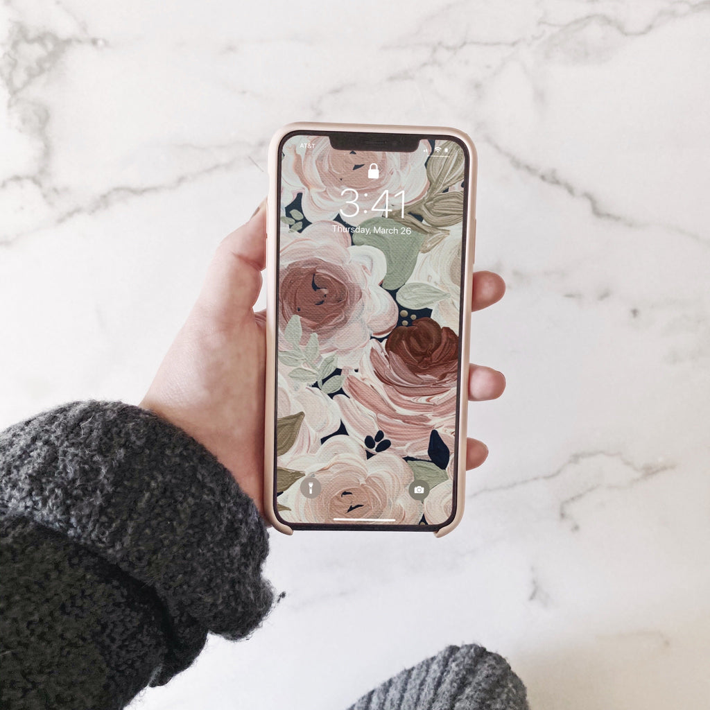 Deep Neutrals Floral Phone Wallpaper (Digital Download)