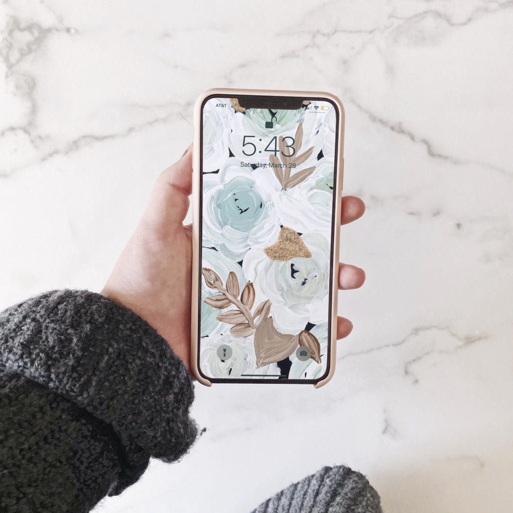 Mint Florals Phone Wallpaper (Digital Download)