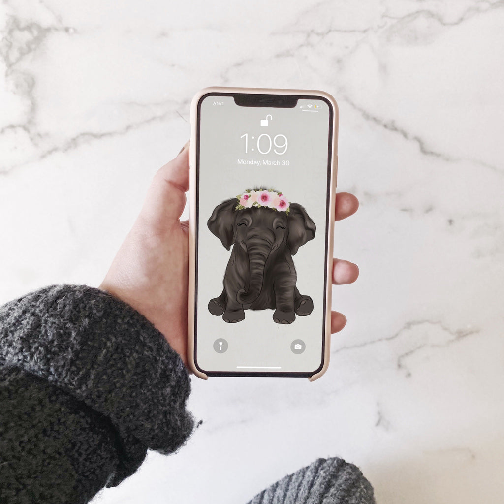 Baby Elephant Phone Wallpaper (Digital Download)