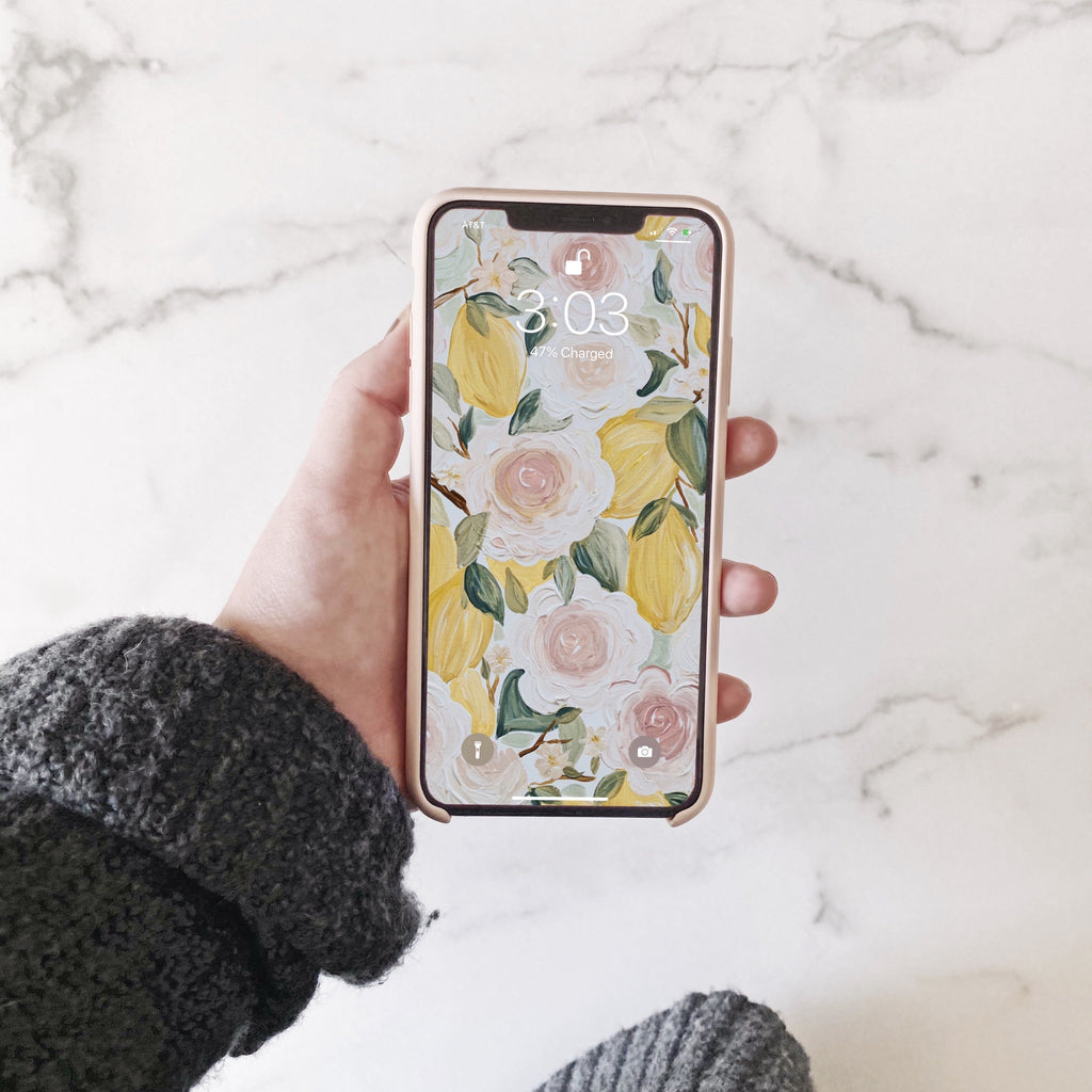 Lemon Florals Phone Wallpaper (Digital Download)