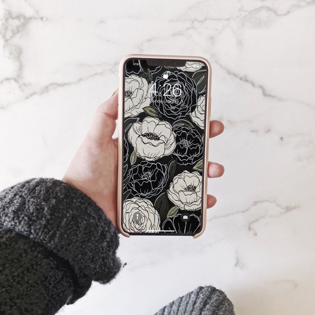 Black & White Florals Phone Wallpaper (Digital Download)