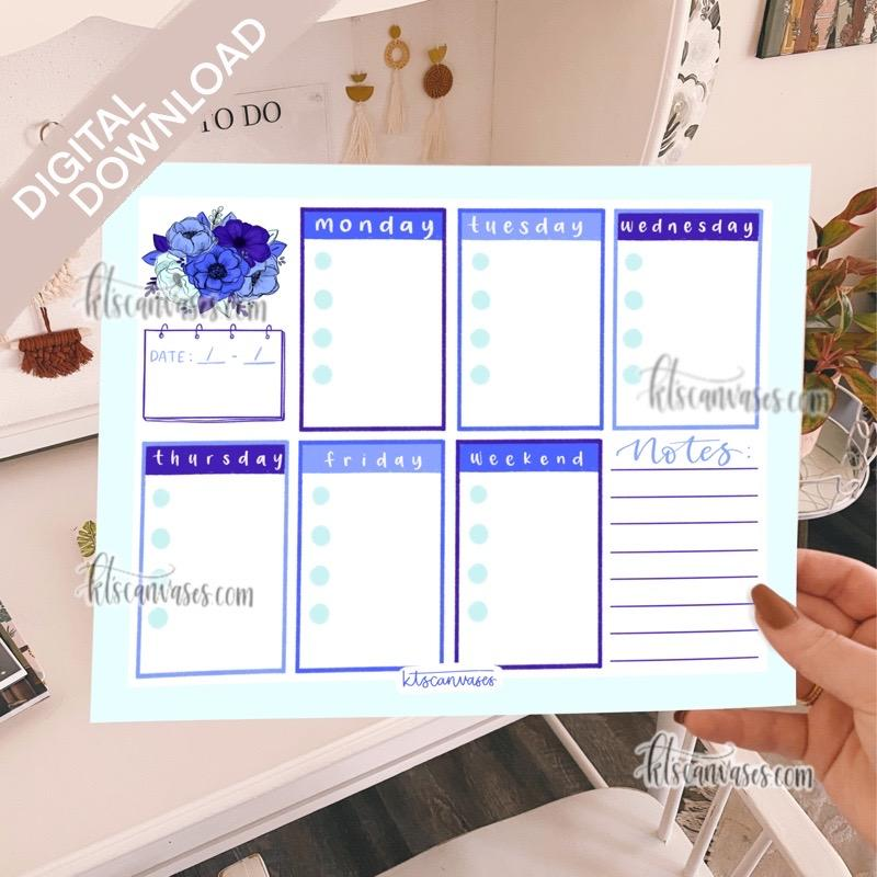 Digital Download Blue Floral Weekly Tracker Page