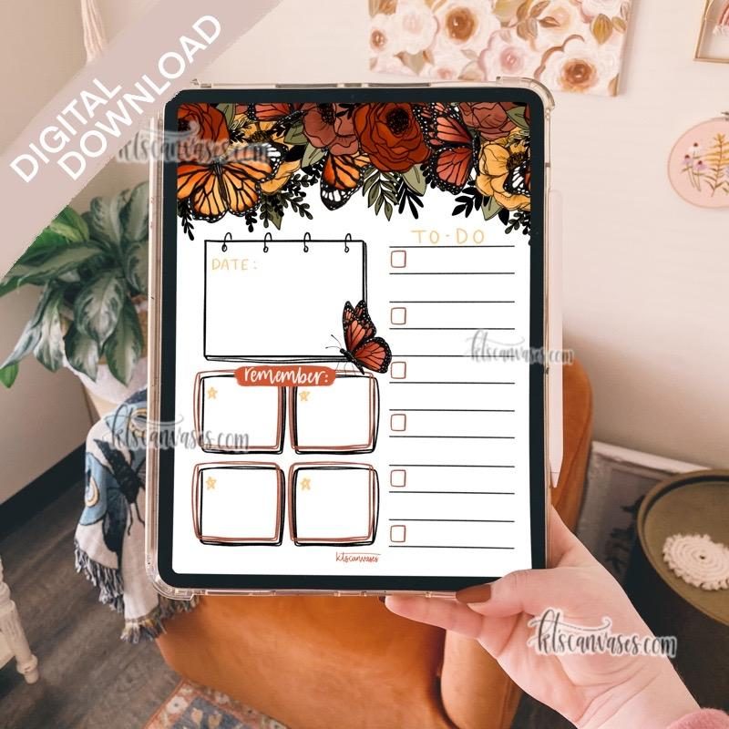 Digital Download Butterfly Floral Weekly/Daily Tracker Page
