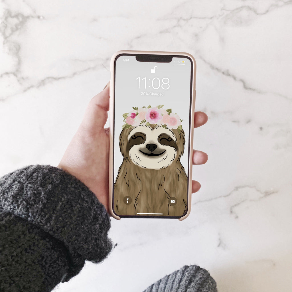 Floral Crown Sloth Phone Wallpaper (Digital Download)