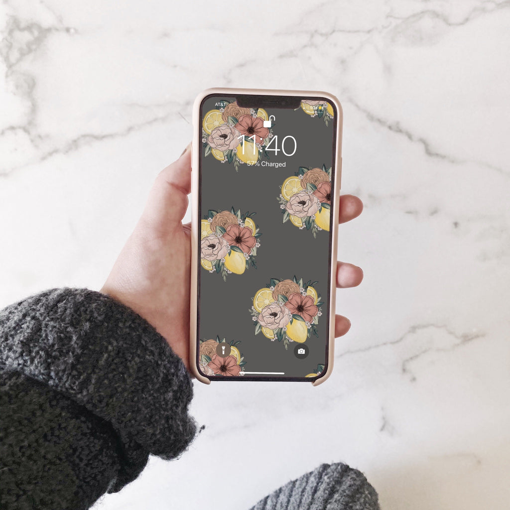 Lemon Floral Pattern Phone Wallpaper (Digital Download)